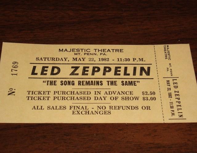 Majestic Theatre 1982 Led Zeppelin Ticket