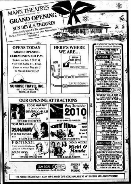 December 21st, 1984 grand opening ad as Sun Devil 6