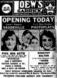 <p>Opening day ad as Loew's Garrick</p>