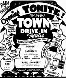 May 5th, 1949 grand opening ad as Town Drive-In