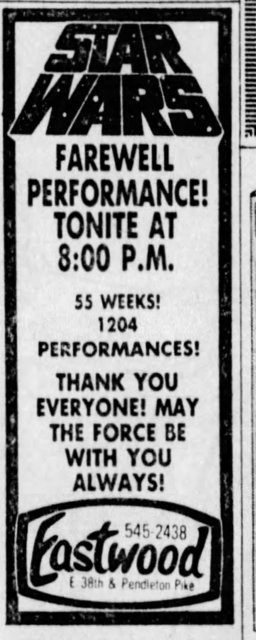 STAR WARS CLOSING DAY AD - 6/16/1978