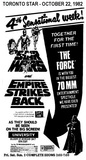 "AD FOR ""STAR WARS & THE EMPIRE STRIKES BACK (70MM)"" - UNIVERSITY THEATRE"