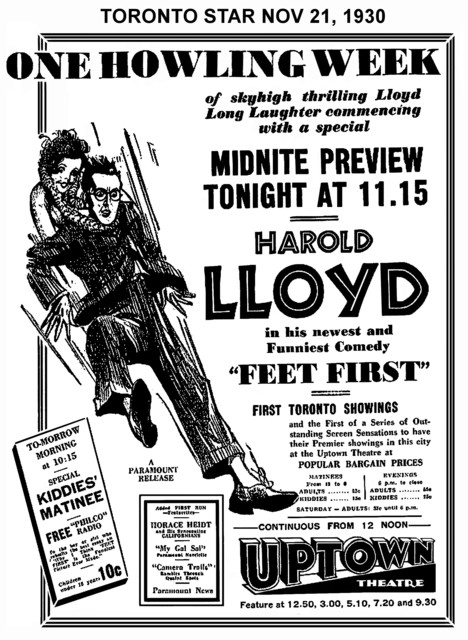"AD FOR ""HAPPY FEET- HAROLD LLOYD"" - UPTOWN THEATRE"