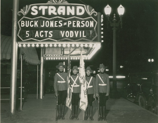 Buck Jones Ranger Band members at the Strand Theatre, East Los Angeles, California