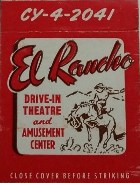 EL RANCHO DRIVE IN THEATRE MATCHBOOK red/white 1