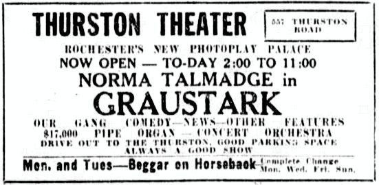 December 6th, 1925 grand opening ad as Thurston