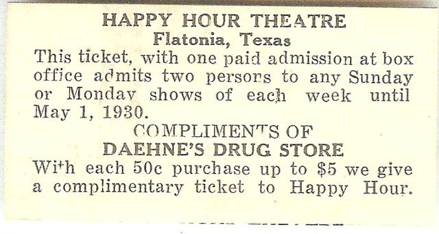 Promotional ticket for Happy Hour Theatre