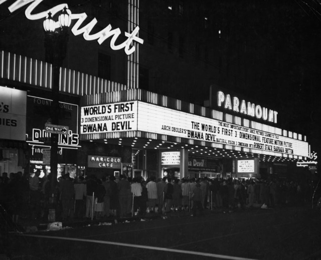 "Paramount Theatre Downtown ""Bwana Devil"" (1952) opening in 3D"