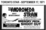 "AD FOR ""THE ANDROMEDA STRAIN & SHOOT OUT"" - PARKWAY DRIVE-IN THEATRE"