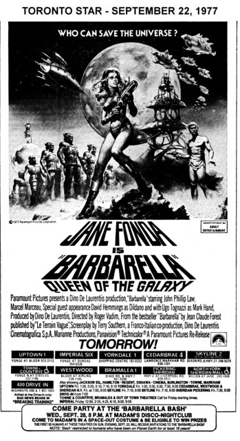 """AD FOR """"BARBARELLA"""" - TOWNE & COUNRTYE AND OTHER THEATRES"""