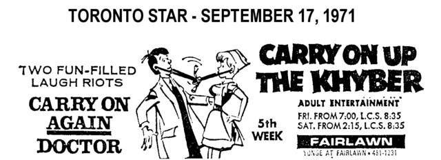 "AD FOR ""CARRY ON AGAIN & CARRY ON UP THE KYBER"" - FAIRLAWN THEATRE"