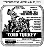 "AD FOR ""COLD TURKEY"" - YONGE THEATRE"
