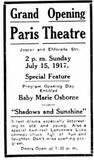 July 12th, 1917 grand opening ad