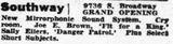 November 5, 1938 grand opening ad