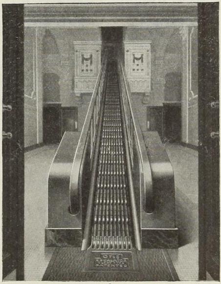 The Hippodrome's unusual lobby escalator.