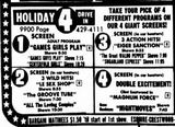 February 27th, 1976 grand opening ad a 4-screen drive-in