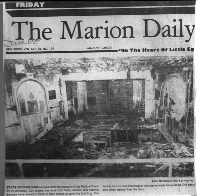 PALACE THEATER ARTICLE FROM THE MARION DAILY REPUBLICAN 1985
