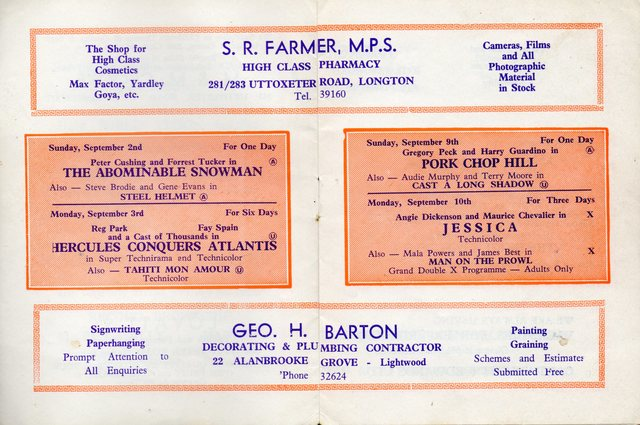 Two pages from the Alhambra programme booklet for September, 1962.