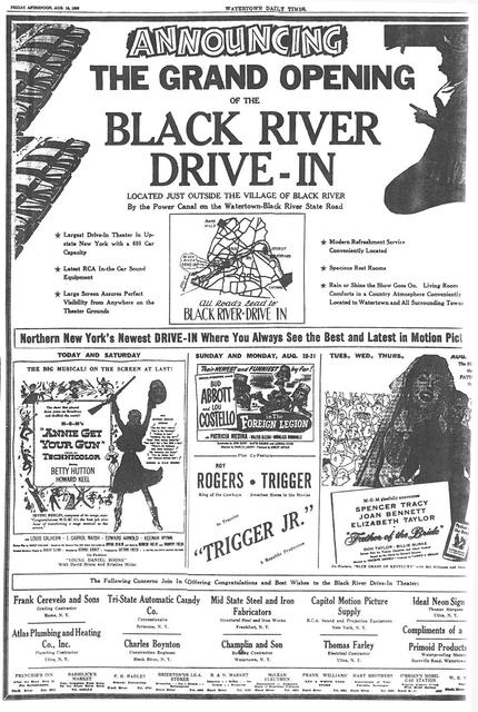 Black River Drive In Grand Opening ad August 18 1950