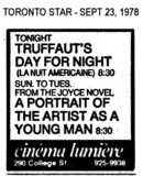 AD FOR DAY FOR NIGHT & PORTRAIT OF A YOUNG ARTIST - CINEMALUMIERE