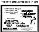"AD FOR ""ESCAPE FROM THE PLANET OF THE APES & THE UNDEFEATED"" - ELANE THEATRE"
