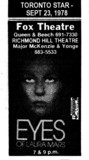 "AD FOR ""THE EYES OF LAURA MARS"" - FOX AND THE RICHMOND HILL THEATRES"
