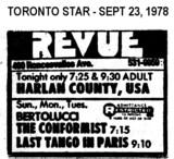 "AD FOR ""HARLAN COUNTY, USA & THE CONFORMIST & LAST TANGO IN PARIS"" - REVUE"