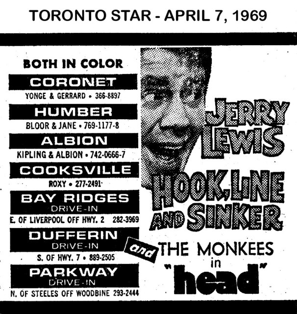 """AD FOR """"HOOK, LINE AND SINKER & HEAD"""" - DUFFERIN DRIVE-IN AND OTHER THEATRES"""