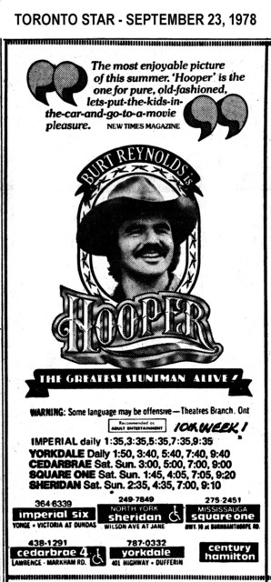 "AD FOR ""HOOPER"" - SHERIDAN (NORTH YORK) AND OTHER THEATRES"