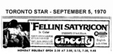 "AD FOR ""FELLINI'S SATYRICON"" - CINECITY"