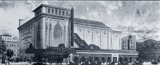<p>Thomas W. Lamb architectural sketch of the Loew's Pitkin Theatre exterior in 1929.</p>