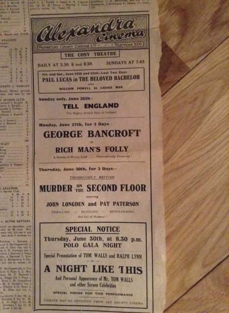 Newspaper advert for the Alexandra cinema