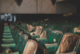 """[""""Antique green movie theatre chairs in abandoned theatre Bells, TN. Donate to revive the Bells Theatre - bit.ly/bellstheatre""""]"""