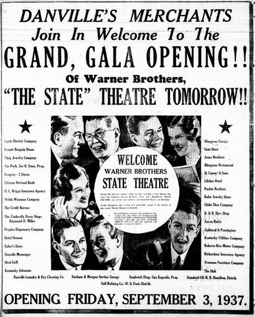 September 3rd, 1937 grand opening ad
