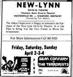 April 2nd, 1976 grand opening ad as New Lynn Drive-In