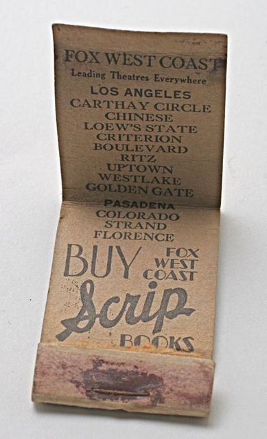 Fox West Coast Theatres Matchbook