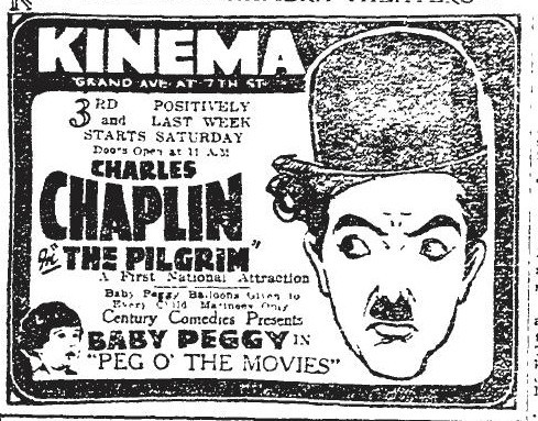 "Kinema Theatre ""The Pilgrim"" (1923) newspaper ad"
