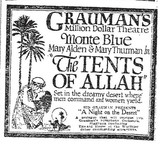 "Grauman's Million Dollar Theatre ""The Tents of Allah"" (1923) newspaper ad"