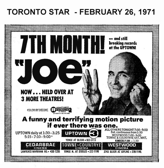 """AD FOR """"JOE"""" - UPTOWN & OTHER THEATRES"""