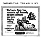 "AD FOR ""THE TWELVE CHAIRS"" - UPTOWN THEATRE"