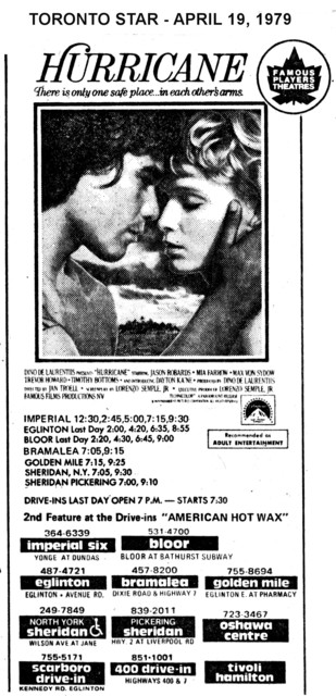 """AD FOR """"HURRICANE"""" - SHERIDAN (NORTH YORK) AND OTHER THEATRES"""