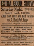 Electric Theatre, Kish and Nash Hall Hall Ad, 8-31-1911