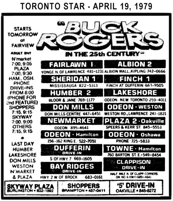 """AD FOR """"BUCK ROGERS IN THE 25TH CENTURY"""" - DUFFERIN DRIVE-IN AND OTHER THEATRES"""