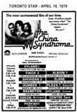 """AD FOR """"THE CHINA SYNDROME"""" - SHERIDAN 2 AND OTHER THEATRES"""