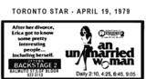"AD FOR ""AN UNMARRIED WOMAN"" - UPTOWN BACKSTAGE 2 THEATRE"