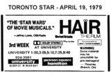 "AD FOR ""HAIR"" - JACKSON SQUARE THEATRE (HAMILTON)"