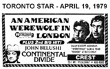 "AD FOR ""AN AMERICAN WEREWOLF IN LONDON & CONTINENTAL DIVIDE"" - CREST THEATRE"