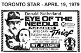 "AD FOR ""EYE OF THE NEEDLE & THIEF"" - MOUNT PLEASANT CINEMA"