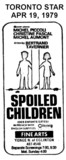 "AD FOR ""SPOILED CHILDREN"" - FINE ART THEATRE"