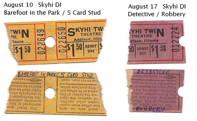 Skyhi tickets, Aug 10 and 17, 1968